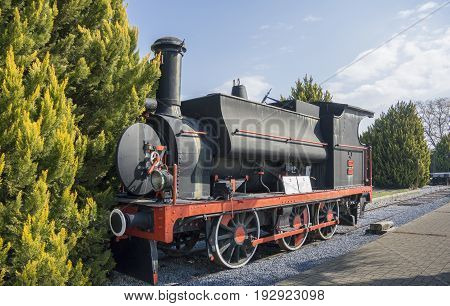 SELCUK, TURKEY, 21 FEBRUARY 2017 - Old Steam Locomotive located in Museum Selcuk Turkey. This wagon was produced in England in 1887 by Robert Stephehson for the Istanbul railway lines