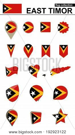 East Timor Flag Collection. Big Set For Design.