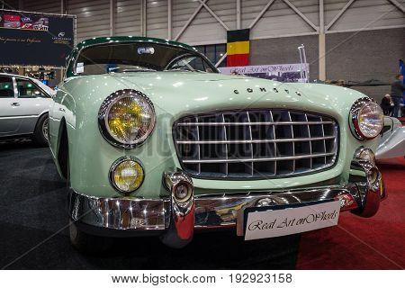 MAASTRICHT NETHERLANDS - JANUARY 14 2016: Sports car Ford Comete 1953. Bodywork was built by FACEL. International Exhibition InterClassics & Topmobiel 2016