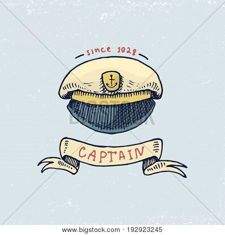 set of engraved vintage, hand drawn, old, labels or badges for captains cap. Marine and nautical or sea, ocean emblems. always home