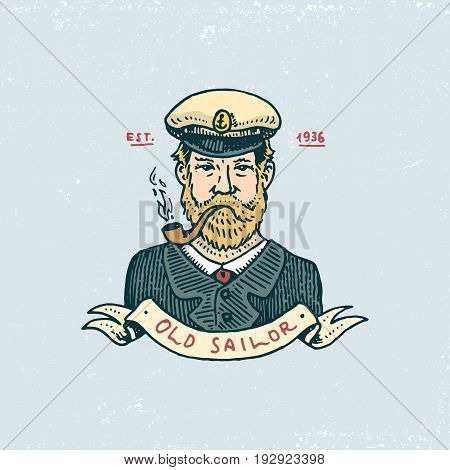 set of engraved vintage, hand drawn, old, labels or badges for a captain with a pipe. welcome aboard, sailor. Marine and nautical or sea, ocean emblems