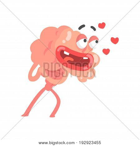 Humanized cartoon brain character in love, intellect human organ vector Illustration isolated on a white background
