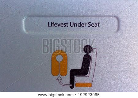 safety pictogram for life vests in a plane