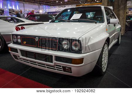 MAASTRICHT NETHERLANDS - JANUARY 14 2016: Sports car Lancia Delta HF Integrale 16v Evoluzione II 1993. International Exhibition InterClassics & Topmobiel 2016