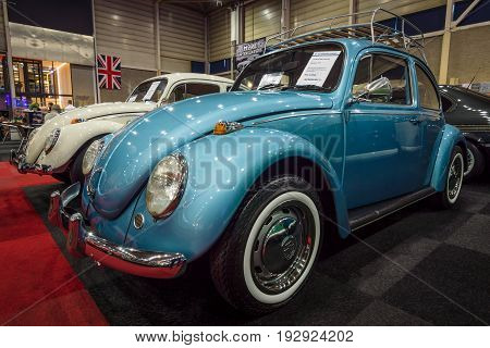 MAASTRICHT NETHERLANDS - JANUARY 14 2016: Subcompact Volkswagen Beetle 1971. International Exhibition InterClassics & Topmobiel 2016