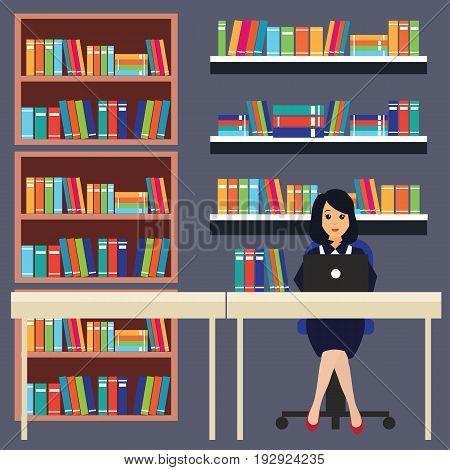 woman in a library, working, reading a book. vector illustration
