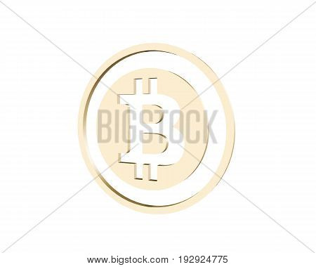 3D rendering golden coin with bitcoin sign. Money and finance symbol. 3D illustration isolated on white background.
