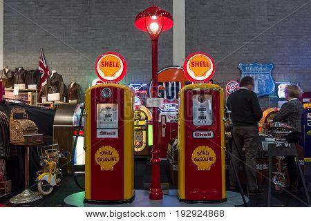 MAASTRICHT NETHERLANDS - JANUARY 14 2016: Gaspump station Shell: Tokheim 39 1938 and Bennett 756 1948. International Exhibition InterClassics & Topmobiel 2016