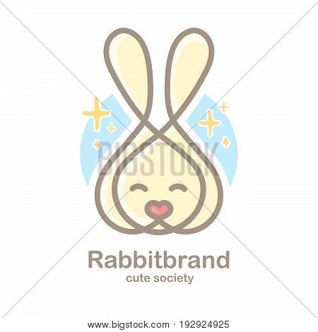 Pastel color logo design template with animal head. Cute rabbit snout for sign pet shop. Symbol in a linear style with the silhouette of the leverets. heart nose. Vector