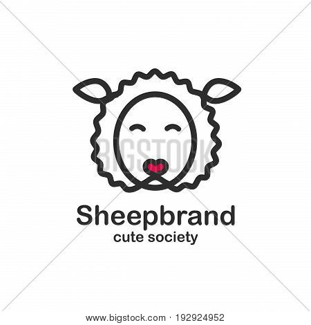 Black color logo design template with animal head. Cute sheep snout for sign pet shop. Symbol in a linear style with the silhouette of the lamb. Heart nose. Vector