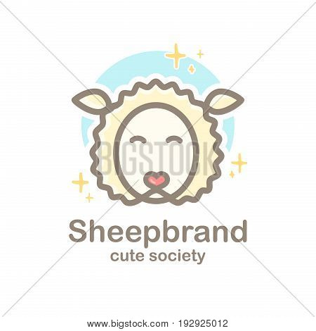 Pastel color logo design template with animal head. Cute sheep snout for sign pet shop. Symbol in a linear style with the silhouette of the lamb. Heart nose. Vector
