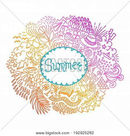 Summer. Round shape doodle frame made of abstract freehand ornament. Vector illustration