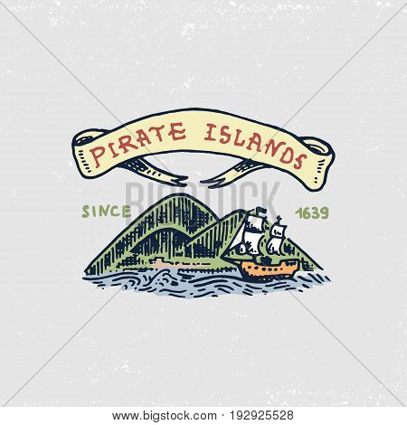 set of engraved, hand drawn, old, labels or badges for corsairs, Caribbean island. Pirates marine and nautical or sea, ocean emblem