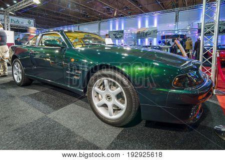MAASTRICHT NETHERLANDS - JANUARY 14 2016: Sports car Aston Martin V8 Coupe 1996. International Exhibition InterClassics & Topmobiel 2016