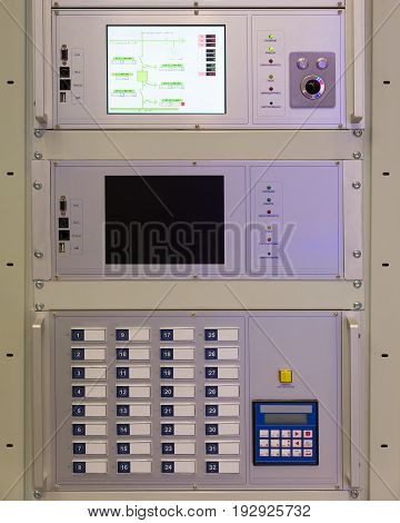 Electrical panel at factory. Controls and switches.