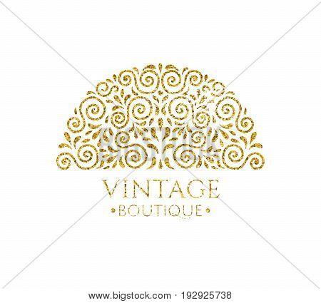 Elegant retro flourish decor. Vintage logo design with gold glitter texture. Baroque style ornament for boutique; restaurant; cafe; flower shop emblem. EPS 10 vector illustration. Clipping mask.