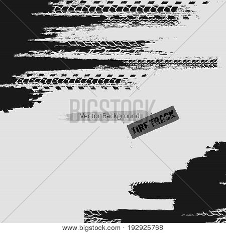 Tire tracks vector illustration. Grunge automotive background element useful for poster, print, flyer, book, booklet, brochure and leaflet design. Editable image in monochrome white and grey colors.
