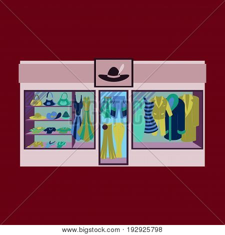 Fashion clothing store banner with shop interior, clothing on hangers and shelves