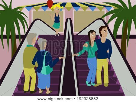 illustration of people shopping in a mall
