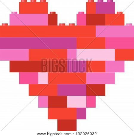 Vector illustration of isolated heart in building block toys