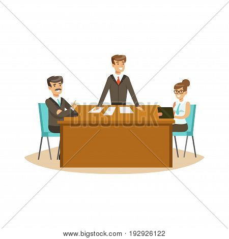 Businesspeople discussing at meeting in an office vector Illustration isolated on a white background
