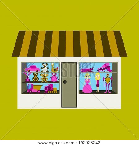 illustration of toy shop outdoor boutique business