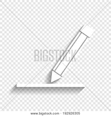 Pencil sign illustration. Vector. White icon with soft shadow on transparent background.
