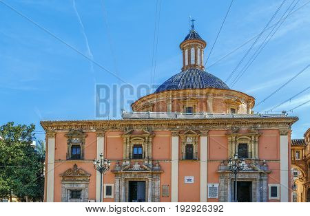 Basilica of Our Lady of the Forsaken Valencia Spain. This temple built upon the ruins of the Roman forum