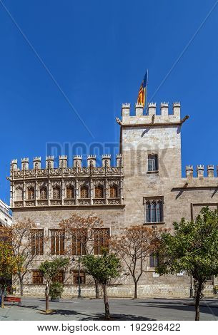 Llotja de la Seda (Silk Exchange) is a late Valencian Gothic-style civil building in Valencia Spain