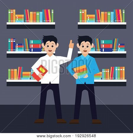 men in a library, working, reading a book. vector illustration