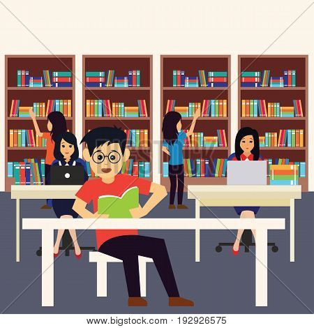 man and women in a library, working, reading a book. vector illustration