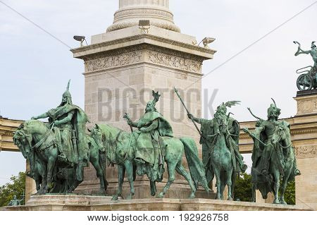 The area of Hungarian heroes Budapest elements of architecture and sculpture of historical personalities.