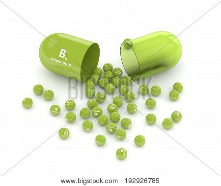 3D Rendering Of B6 Vitamin Pill