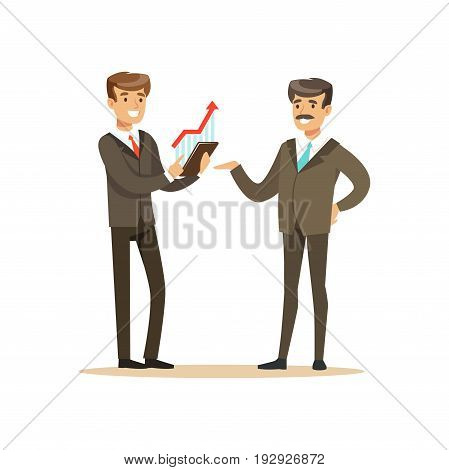 Business partners discussing financial resultst at meeting in office vector Illustration isolated on a white background