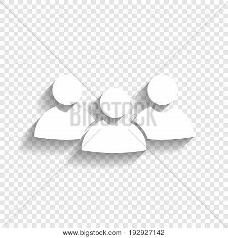 Team work sign. Vector. White icon with soft shadow on transparent background.