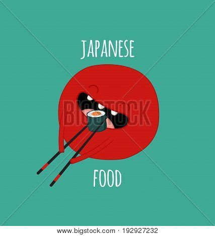 Funny sushi set. Bottle of sake, sushi, rice, soy sauce. Vector illustration.