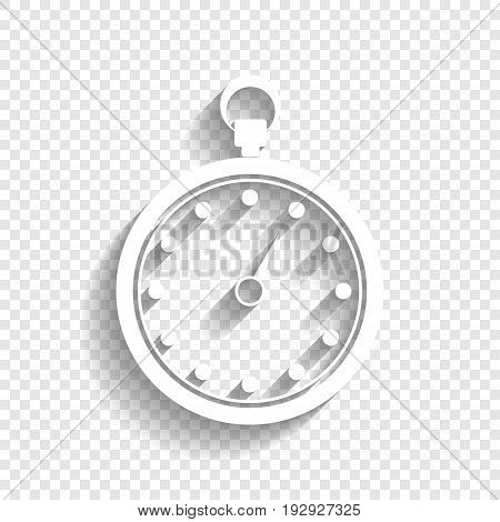Stopwatch sign illustration. Vector. White icon with soft shadow on transparent background.