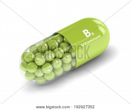 3D Rendering Of B6 Vitamin Pill With Granules