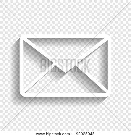 Letter sign illustration. Vector. White icon with soft shadow on transparent background.