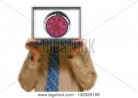 Pixel man holding a laptop with a combination lock -- data security concept
