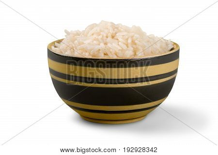 Background bowl rice white nobody isolated simplicity