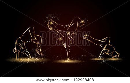 Golden linear b-boys dancers set on dark background. Hip hop dance background for poster and flyer.