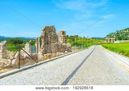 PATARA TURKEY - MAY 7 2017: The ruins of ancient Byzantine Basilica in Patara located near to the main road on May 7 in Patara Turkey