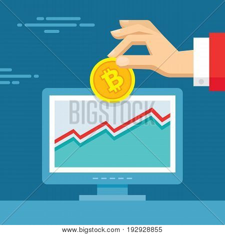 Digital currency bitcoin - vector concept illustration in flat style. Human hand banner. Investment money creative layout. Modern finance economic. Graphic design.