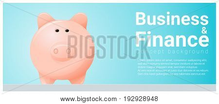 Business and Finance concept background with piggy bank , vector , illustration