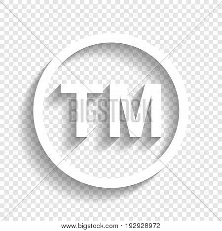 Trade mark sign. Vector. White icon with soft shadow on transparent background.