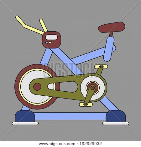 Icon in flat design Bicycle exercise sport