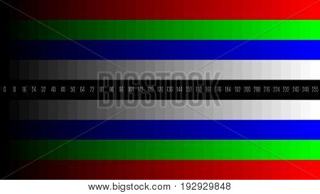 8K 7680x4320 TV RGB gradient television test pattern to adjust the screen, tint 0-255.