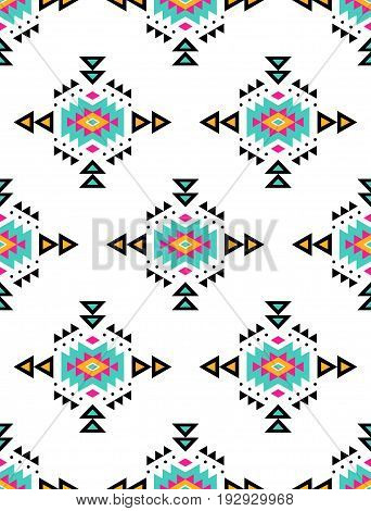 Aztec style seamless pattern with tribal ornament. Ornamental ethnic background collection. Can be used for fabric prints surface textures cloth design wrapping. EPS 10 vector illustration.