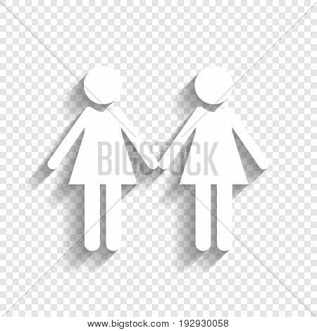 Lesbian family sign. Vector. White icon with soft shadow on transparent background.